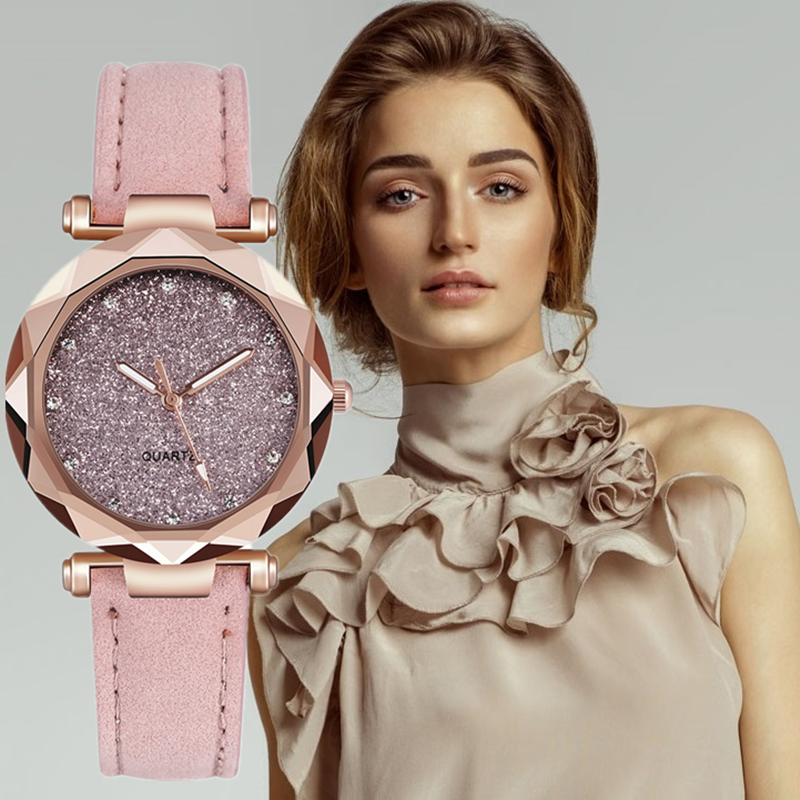 Rhinestone Starry Star Women Watches Casual Fashion Dress Watch Ladies Clock Leather Strap Quartz Zegarki Damskie Gift Relogios