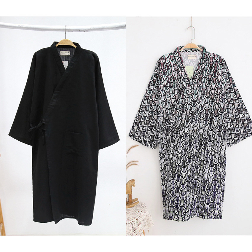Men's Robe Long Cotton Japanese Yukata Jinbei Basic Style Cotton Comfortable Traditional Kimono Sauna Bathing Gown Pajamas