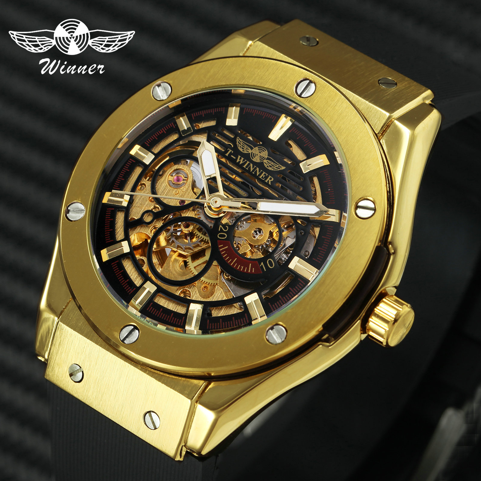 WINNER Luxury Mens Mechanical Watches Rubber Strap Male Automatic Skeleton Steampunk Sports Wristwatch Luminous Hands Male Clock