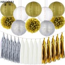 25pcs/set Gold White Round Hanging Paper Ball Lanterns Honeycomb Tissue Pom Poms Tassel Birthday Wedding Theme Party Decorations