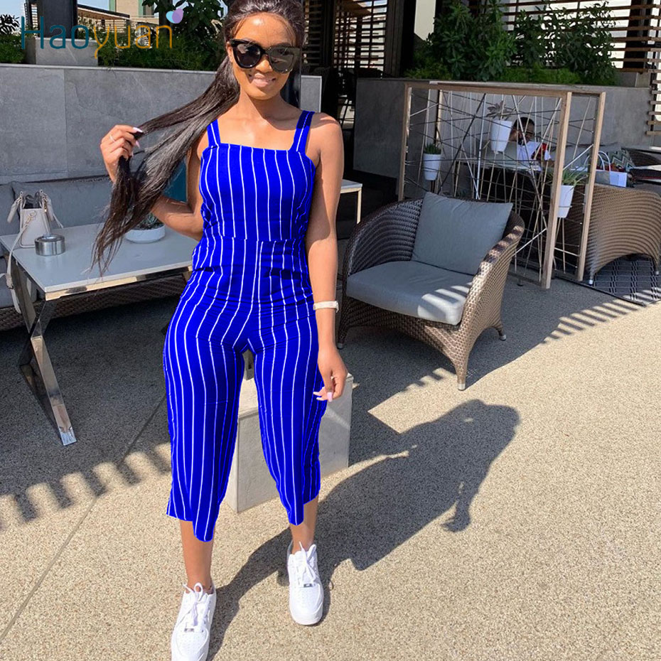 HAOYUAN Sexy Striped Rompers Womens Jumpsuit 2020 Summer Clother Sleeveless Overalls One Piece Outfits Spaghetti Strap Playsuit