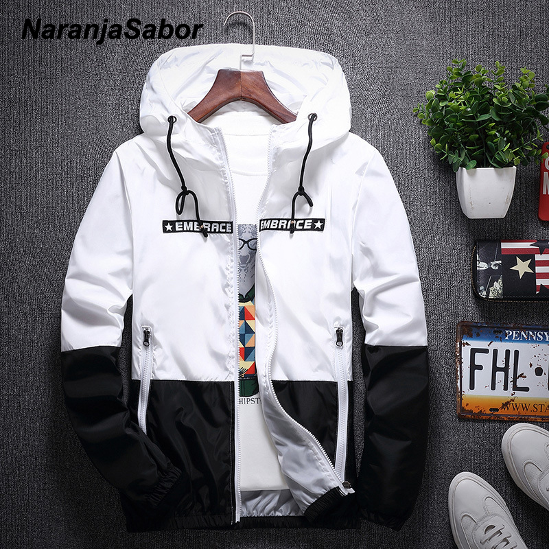 NaranjaSabor 2020 Men's New Jacket Colorful Spring Autumn Jacket Men's Patchwork Hood Coat Slim Fit Brand Clothing S~4XL N568