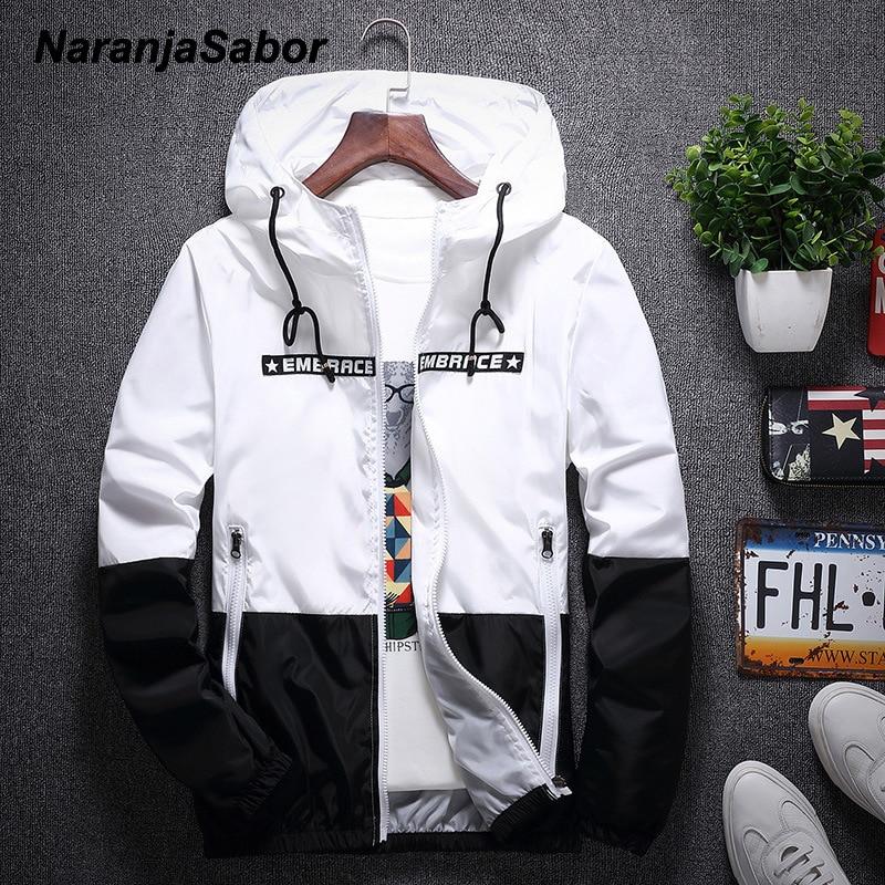 NaranjaSabor 2020 Men's New Jacket Colorful Spring Autumn Jacket Men's Patchwork Hood Coat Slim Fit Brand Clothing S~4XL N568