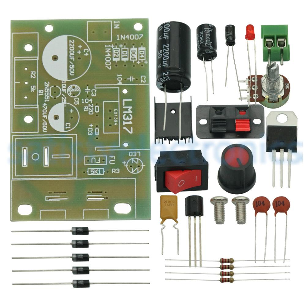 DC 5V-35V LM317 DIY Kit Step-Down Power Supply Module AC/DC Adjustable Voltage Regulator With On/Off Switch