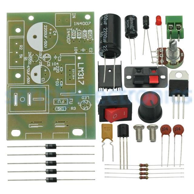 DC 5V 35V LM317 DIY Kit Step Down Power Supply Module AC/DC Adjustable Voltage Regulator With On/Off Switch
