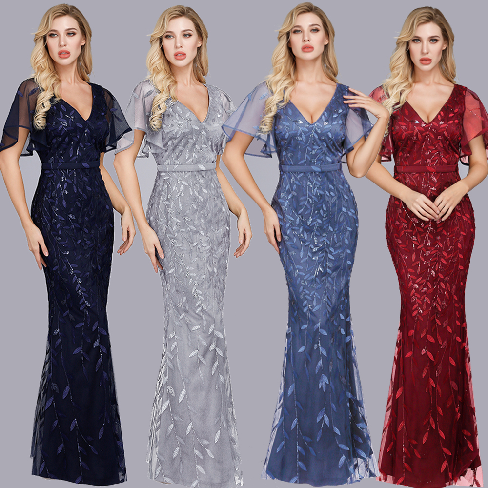 Beauty-Emily V Neck Ruffles Evening Dresses Long Sequins Tulle Leaves Appliques Party Mermaid Dress Formal Gowns Robe De Soiree