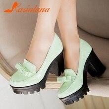 Karinluna yepyeni kare yüksek topuklu Platform papyon İlkbahar yaz ayakkabı açık büyük boy 43 ayakkabı kadın pompaları