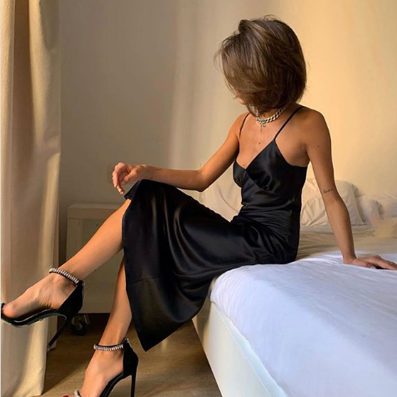 2020 Women Satin Deep V Neck Sexy Dress Solid Straight Pajamas Party Dress Elegant Female Summer Spaghetti Strap Dress Casual 2