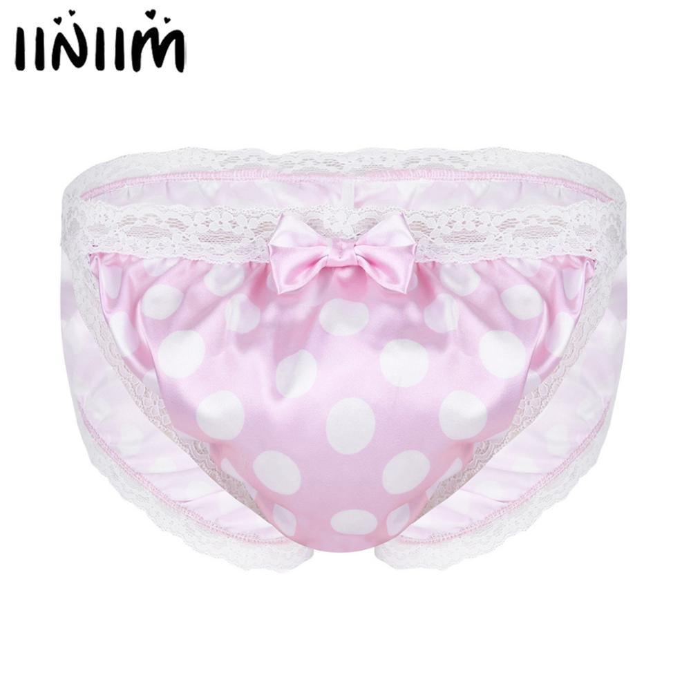 Iiniim Mens Lingerie Sissy Japan Satin Panties Shiny Polka Dot Lace Floral Back Ruched Bikini Sissy Briefs Bulge Pouch Underwear