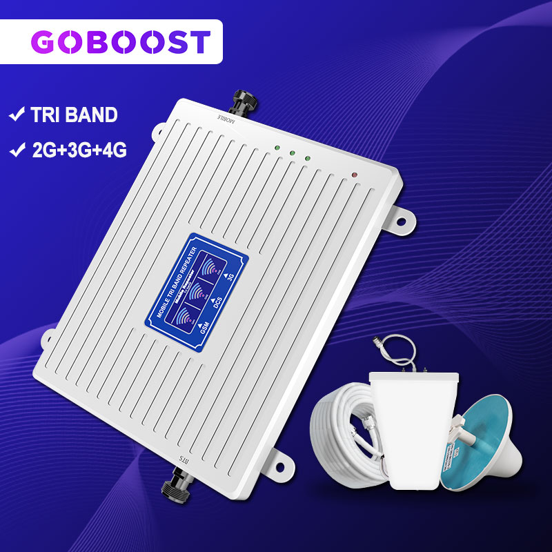Cellular Amplifier 4g Repeater Gsm 2g 3g 4g Cellular Sigal Boostser 900 1800 2100mhz Tri Band Communication Amplifier Cable 2600