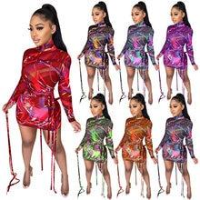 Mini robe en maille transparente pour femmes, tenue colorée, imprimée, manches longues, vêtements d'été