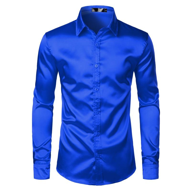 Hed76479023ac4900831bec9462c1b53aA Men's Black Satin Luxury Dress Shirts 2020 Silk Smooth Men Tuxedo Shirt Slim Fit Wedding Party Prom Casual Shirt Chemise Homme