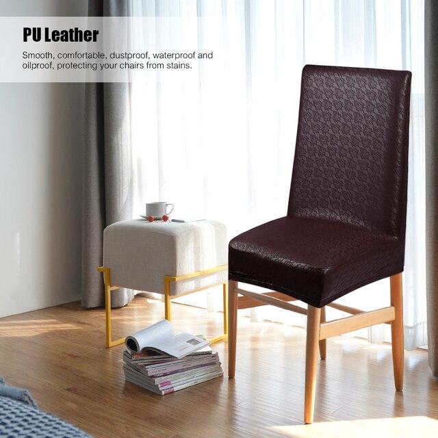 2 piezas de cuero PU patrón encaje Silla comedor fundas asiento  impermeables a prueba aceite polvo