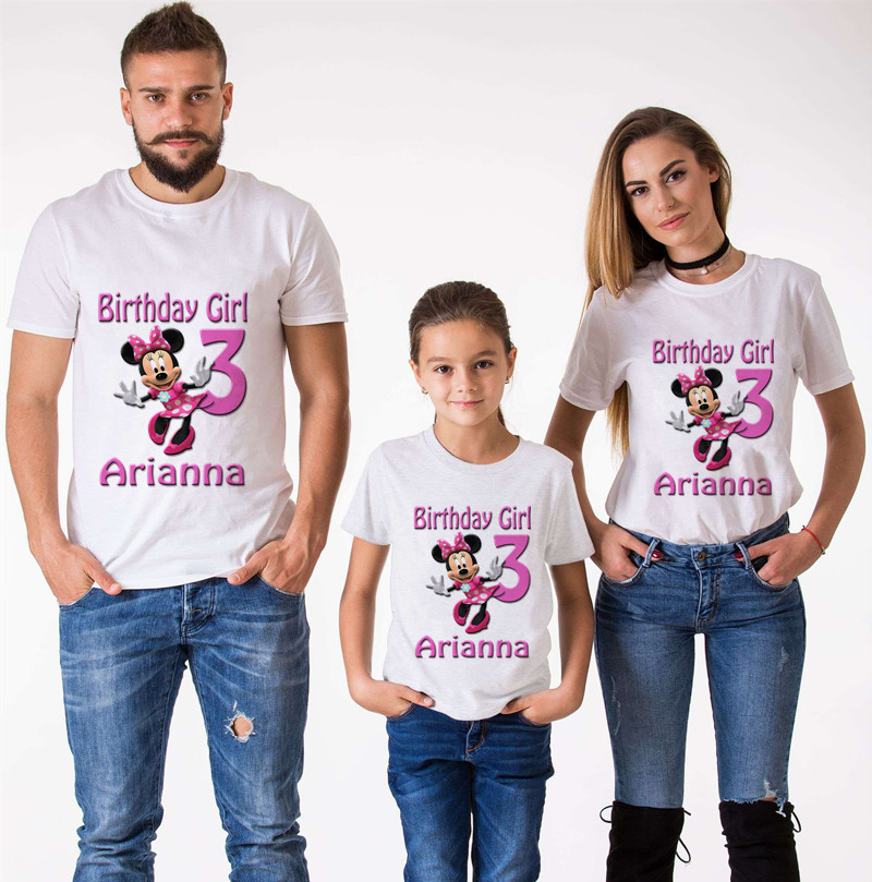 Mouse  Family Matching Clothes Mommy And Me Clothes Minnie Birthday Short Sleeve T-Shirt Boys Clothes Mickey Birthday T-Shirt