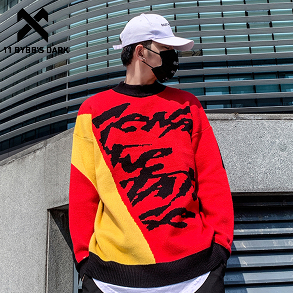 11 BYBB'S DARK Hip Hop Color Clock Knitted Men Sweater 2019 Harajuku Streetwear Tops Ripped Casual Cotton Male Pullover Outwear