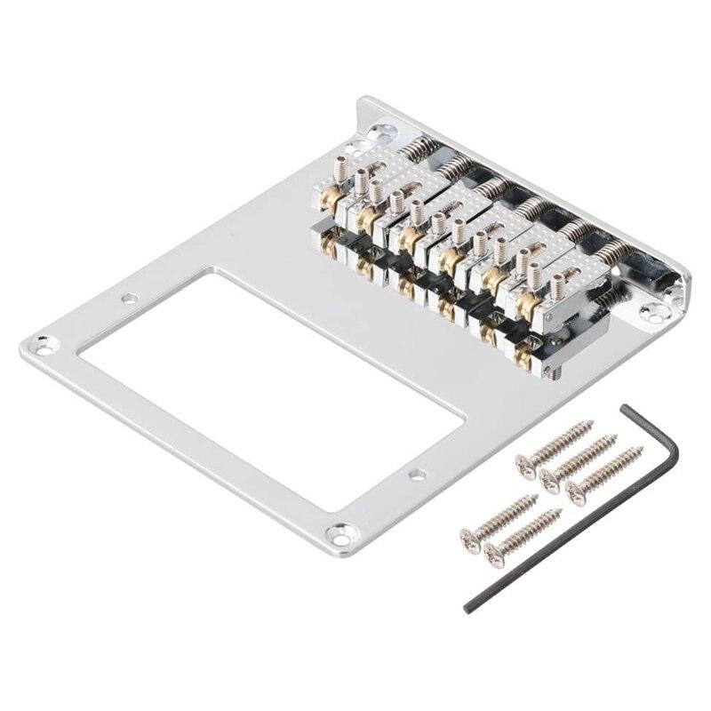 6 Ролик седло 6 строка хамбакер гитары мост беспроводного доступа в Интернет для Теле Telecaster гитары (хром)