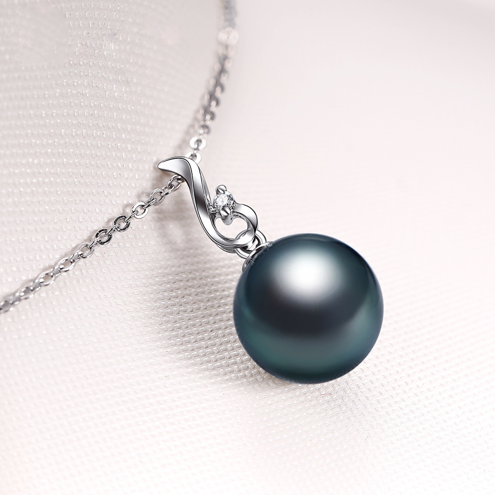 Exquisite White Gold Plated Imitation Black Pearl Pendant Necklace Classic Necklace Wedding Engagement Party Women Jewelry