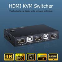 2 Port HDMI KVM Switch 2 In 1 Out 4K 60hz Switcher Splitter for 2 PC Sharing Printer HDMI Cable KVM Switch with Audio hdmi AM