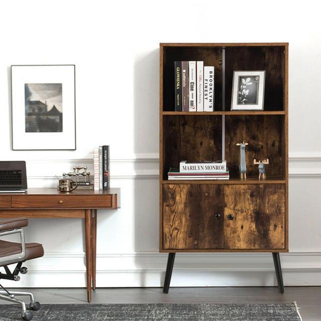 2-Tier Retro Bookcase Bookshelf w/3 Compartment 4