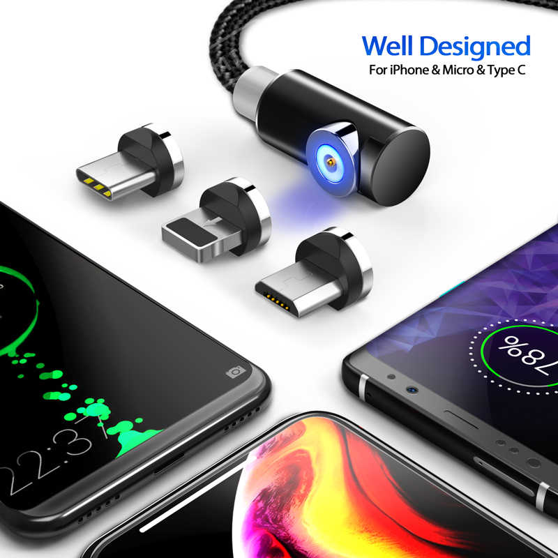 INIU 2m câble magnétique Micro USB type C adaptateur chargeur Charge rapide pour iPhone XS Max Samsung Charge aimant Android téléphone cordon