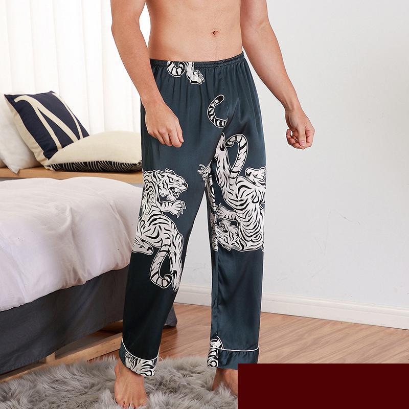CEARPION Men Sleep Bottoms Satin Sleepwear Soft Nightgown Pants Elegant Crane Print Pajama Panties Male Lounge Night Wear