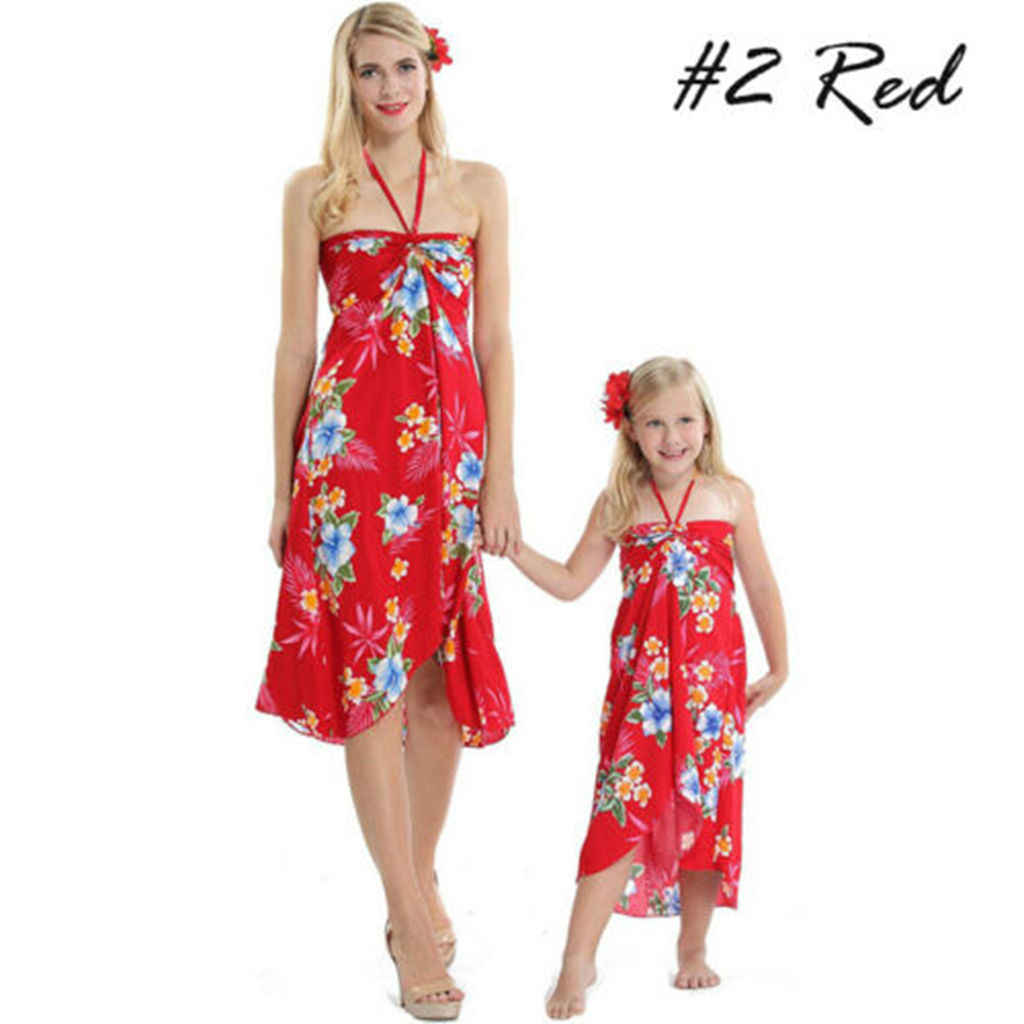 Family Matching Beachwear Floral Print Boho Halter Cover Up Halter Dress for Mother and Daughter Plus Size