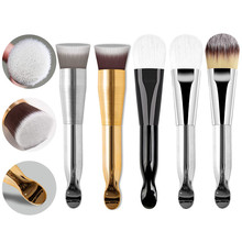 NEW Metal Plating Handle Liquid Cream Foundation Brush With Tail Spoon Pro Double Head Face Mask Bru