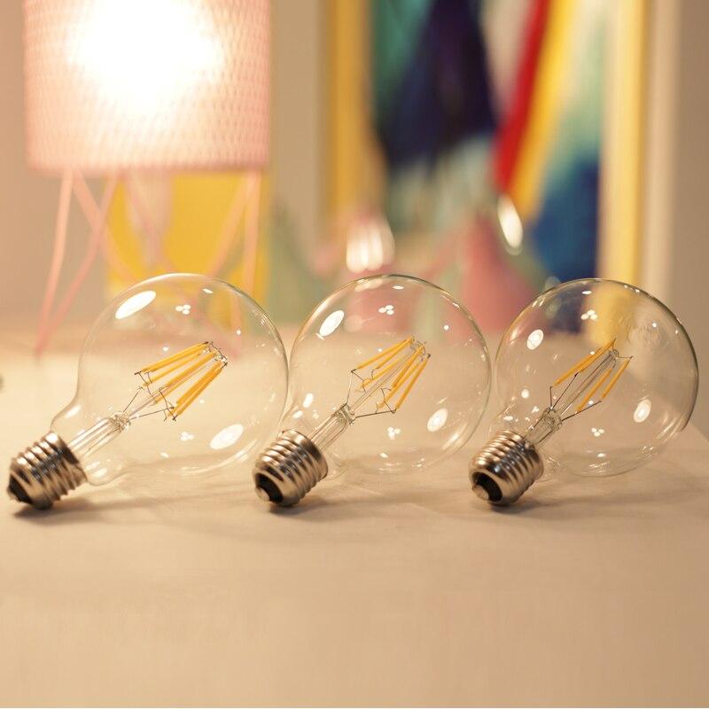 Купить с кэшбэком LATTUSO Edison Led Filament Bulb G80 G95 G125 Big Global light bulb 4W 6W 8W filament bulb E27 clear glass indoor lamp AC220V