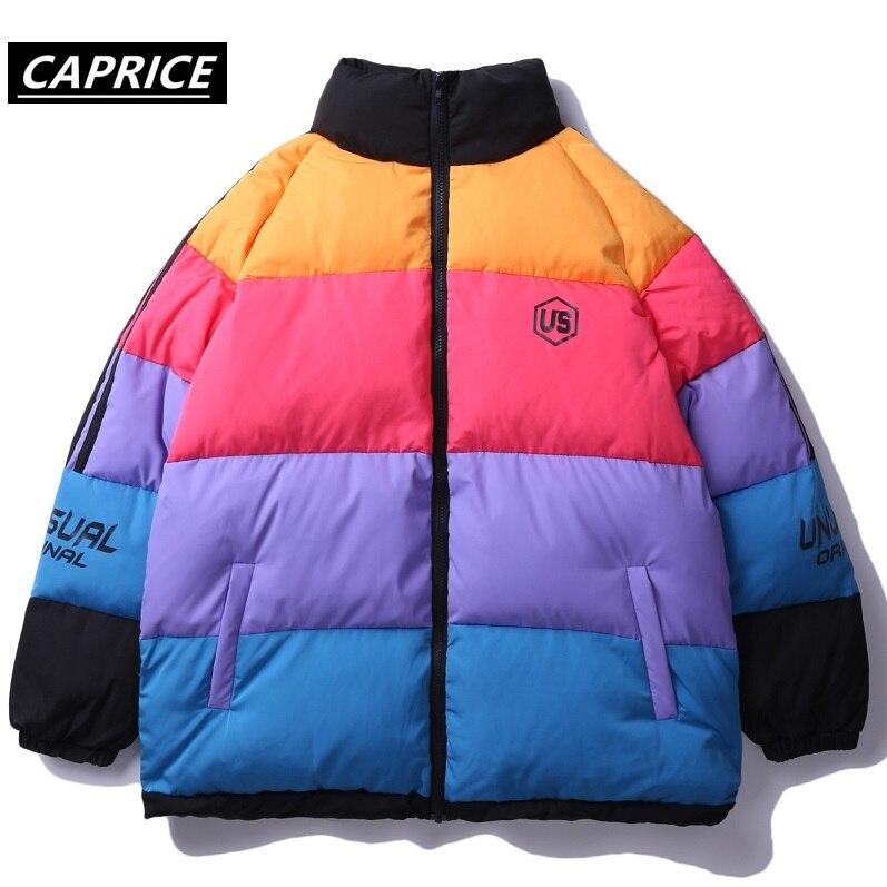 Hommes femmes Hip Hop hiver épais Parkas Harajuku arc-en-ciel couleur bloc coupe-vent Streetwear chaud vestes manteau Outwear