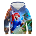 Clothes For Teens Game Mario Cartoon Print Blouse With Long Sleeves Fashionable 3D Sweatshirts Hoodie Boys and Girls 4T to 14T