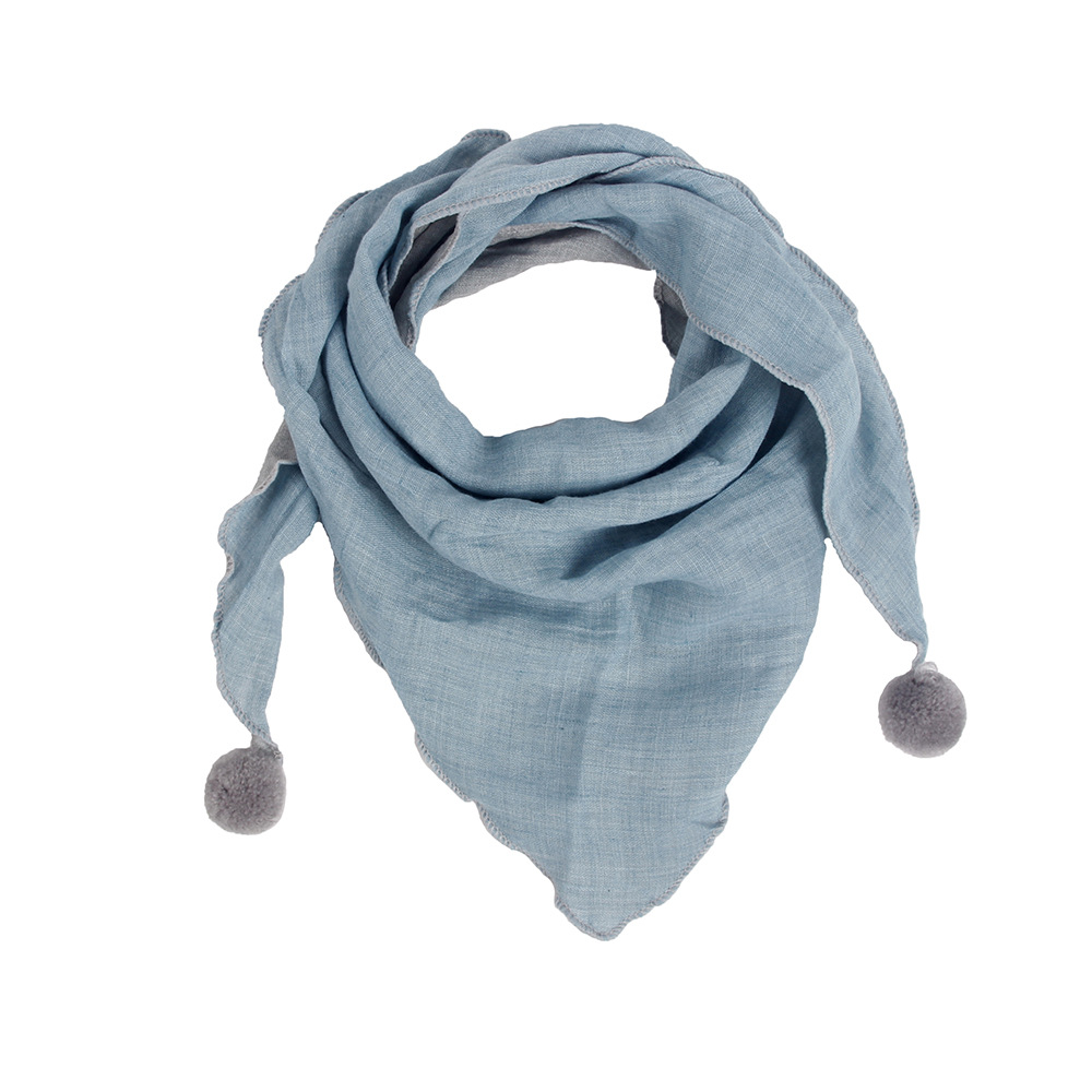Winter New Children's Triangle   Scarf   with Fur Balls Leisure Plian Cotton   Scarf   for Boys Girls General Cotton   Wraps