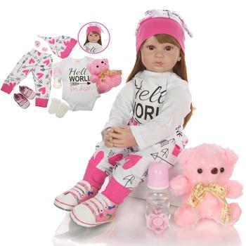 Big 60 cm bebes Reborn Toddler Girl Dolls lifelike Princess long brown hair silicone vinyl Reborn baby Doll lol For Kids gift