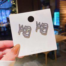 Punk moda exagerada cristal wang carta brincos strass letras para mulher menina jewlery