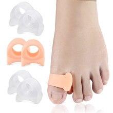 2 pçs silicone dedos do pé separador osso ectropion ajustador toes exterior aparelho grande hallux valgus corrector ferramentas de cuidados com os pés