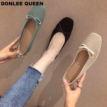 Flats Shoes Women Slip On Flat Ballerina Round Toe Shallow Ballet Shoes Casual Loafers Stretch knit women's shoes  zapatos mujer 2017 summer spring women ballet flats round toe slip on shoes woman flower bowknot loafers vintage zapatos mujer canvas