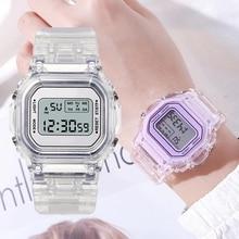 Nova moda transparente relógio digital quadrado relógios femininos esportes relógio de pulso eletrônico reloj mujer dropshipping