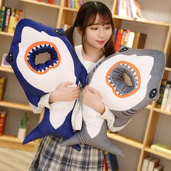 Almohada de aguacate con forma de gato tiburón, almohada de felpa para dormir la siesta en la oficina, almohada bonita con dibujo de gato, regalo para mujer