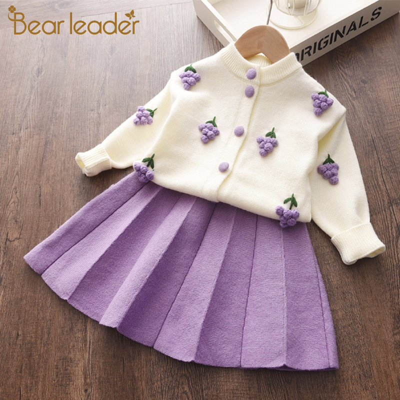 Bear Leader Baby Girls Clothes Set Autumn Winter Cartoon Grape Clothing Set New Kids Knitted Sweet Outfit Children Clothes Suit 1