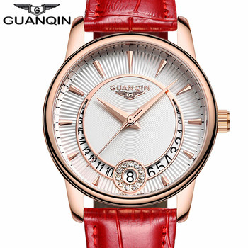 Relogio Feminino GUANQIN Women's Fashion Quartz Watch Women Gold Case dress Series Leather Ladies clock Luxury Jewelry Watches A