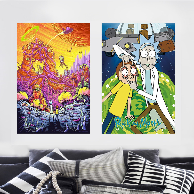 Ins Decoration Rick And Morty Silk Cloth Poster DIY Painting Decorative Wall Art Picture For Living Room Home Decor