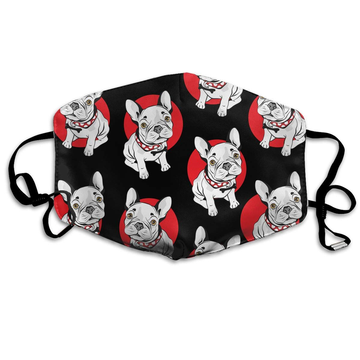 Fashion French Bulldog Washable Reusable   Mask, Cotton Anti Dust Half Face Mouth Mask For Kids Teens Men Women With Adjustable