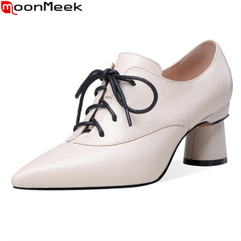 MoonMeek 2020 new arrival women pumps thick heels pointed toe lace up ladies dress shoes genuine leather pointed toe shoes woman