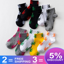 EU size 38-45 Short tube maple leaf socks hip hop socks men