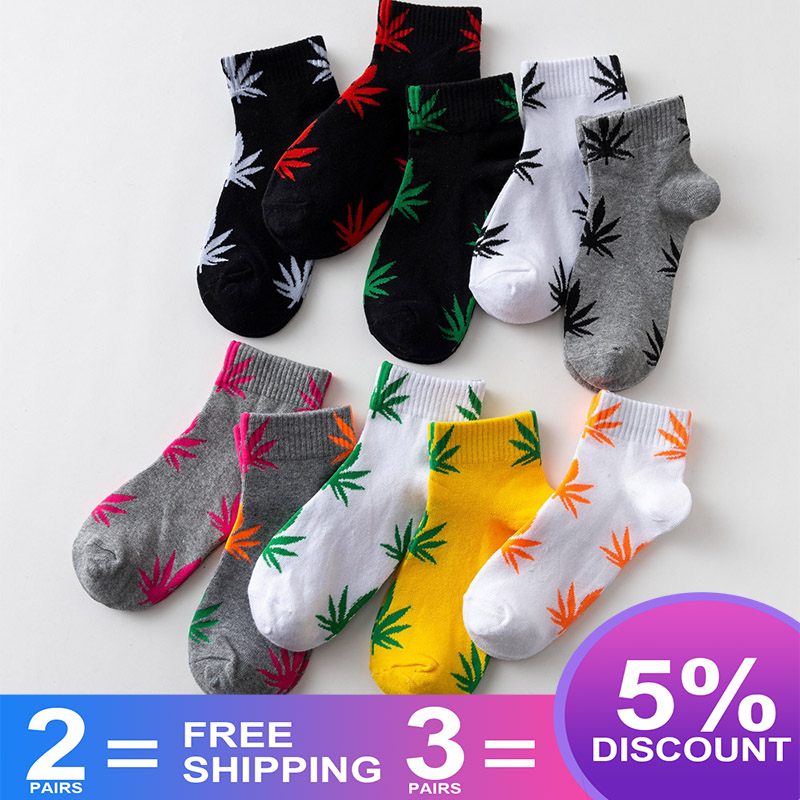 EU Size 38-45 Short Tube Maple Leaf Socks Hip Hop Socks Men And Women Street Skateboard Boat Socks Hemp Leaf Sports Tide S-8