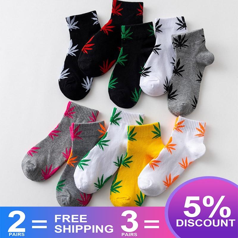 EU Size 38-45 Short Tube Maple Leaf Socks Hip Hop Socks Men And Women Street Skateboard Boat Socks Hemp Leaf Sports Tide S-8
