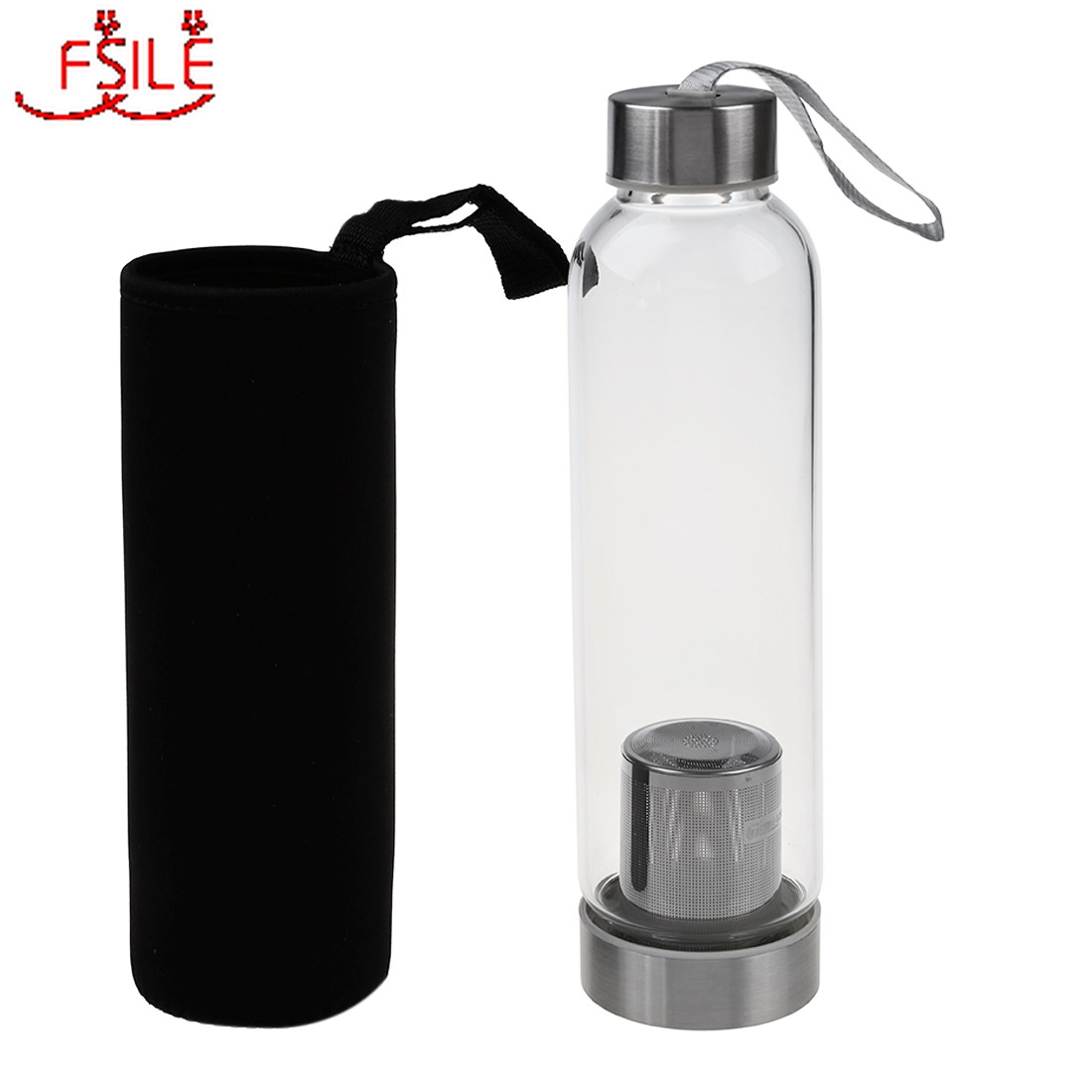 HOT Glass Sport Water Bottle with Tea Filter Infuser Protective Bag 550ml|Water Bottles|   - AliExpress