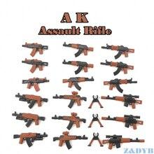 21PCS AK Assault Rifles Weapon Pack Gun Military Mini Soldier Figure WW2 Model Building Block Brick Locking For Children Kid Toy