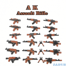 21PCS AKปืนไรเฟิลอาวุธปืนทหารMiniทหารWW2ชุดBuilding Blockอิฐล็อคเด็กของเล่นเด็ก
