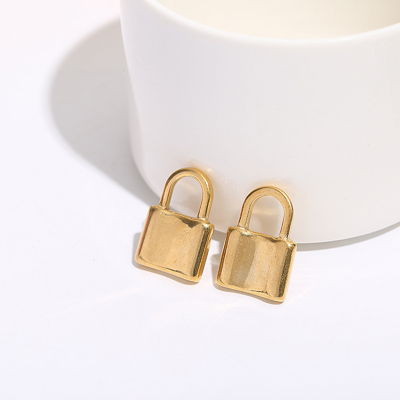 5pcs/lot Stainless Steel Gold Steel Tone Solid Lock Charm 15x23mm Padlock Pendant for DIY Necklace Jewelry Making Finding Craft