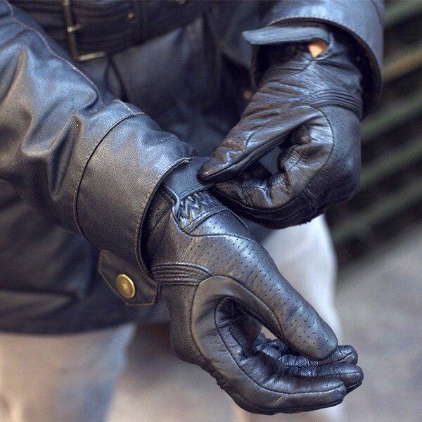 Luva da motocicleta preto couro genuíno moto gants moto gp fora da estrada luvas de corrida